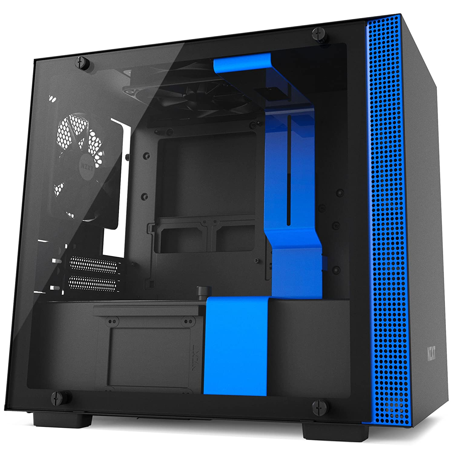 Water-Cooling Ready Tempered Glass Panel NZXT H200i RGB Lighting and Fan Control Mini-ITX PC Gaming Case CAM-Powered Smart Device Enhanced Cable Management System Black//Red