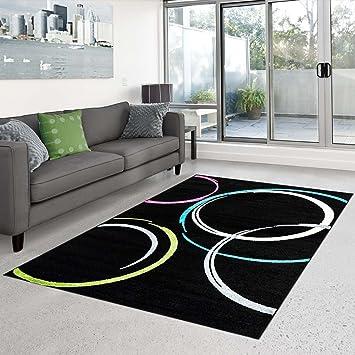 Teppich Flachflor Kurzflor Moda mit modernem Kreis-Muster in Schwarz ...