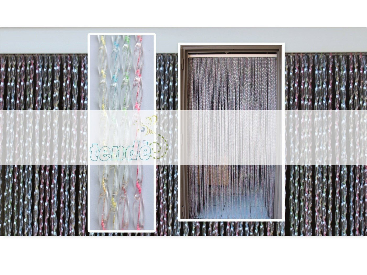 PVC-Türvorhänge Modell Roma – Aluminiumträger - Made in    - Eichmaß (95X200 100X220 120X230 130X240 150X250) – Fliegenvorhang (100X220, Transparent (2)) B01GA9MDPE Fensterdekoration 107459