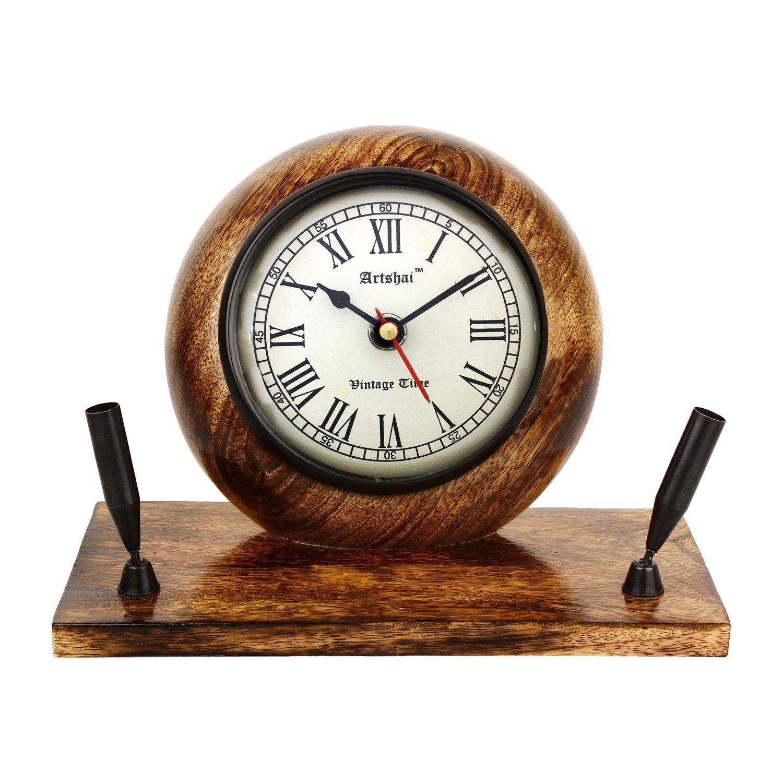 Artshai Premium Wooden Table Clock cum Pen Stand. Excellent desk décor and organiser, Antique style