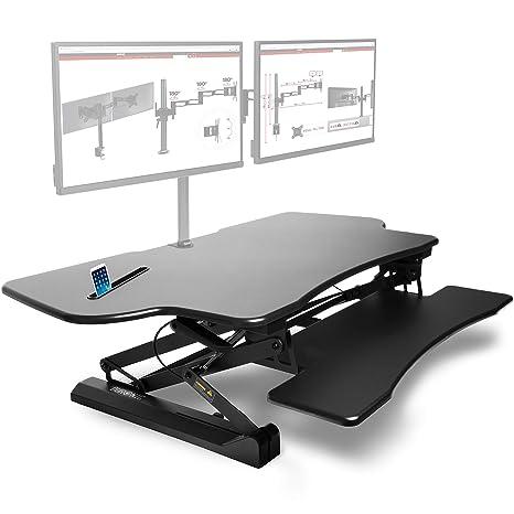 Duronic DM05D4 Estación de Trabajo para Monitor, Mesa Ordenador para Trabajar de Pie y Sentado