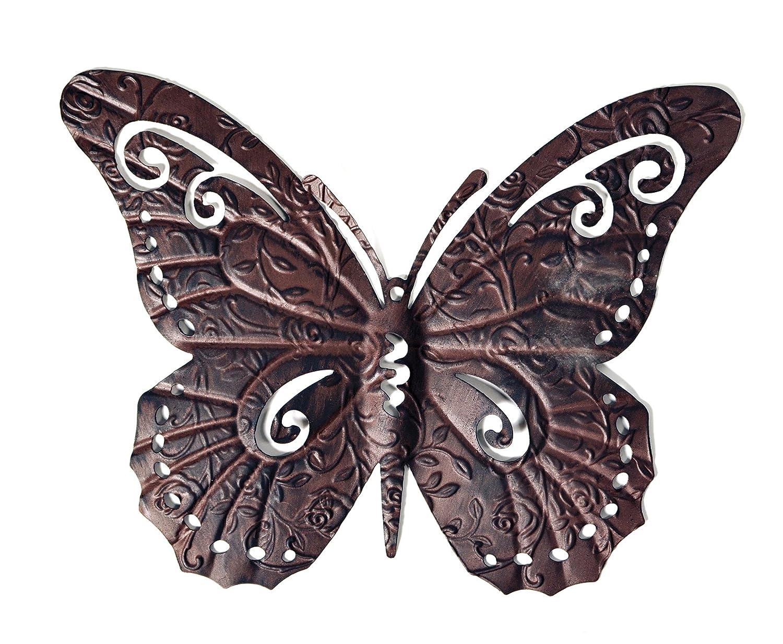 Dark Brown Metal Butterfly Wall Art Fence Garden Home Decoration Ornament (Medium) MC