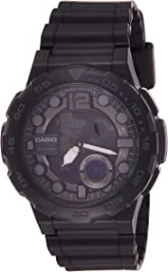 ساعة يد كوارتز من كاسيو للرجال، مع شاشة رقمية وعقارب وسوار من الراتنيج لون أسود Aeq-100W-1Av