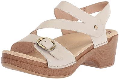 60e9ac955a8e Dansko Women s Shari Flat Sandal Ivory Full Grain 38 M EU (7.5-8 US