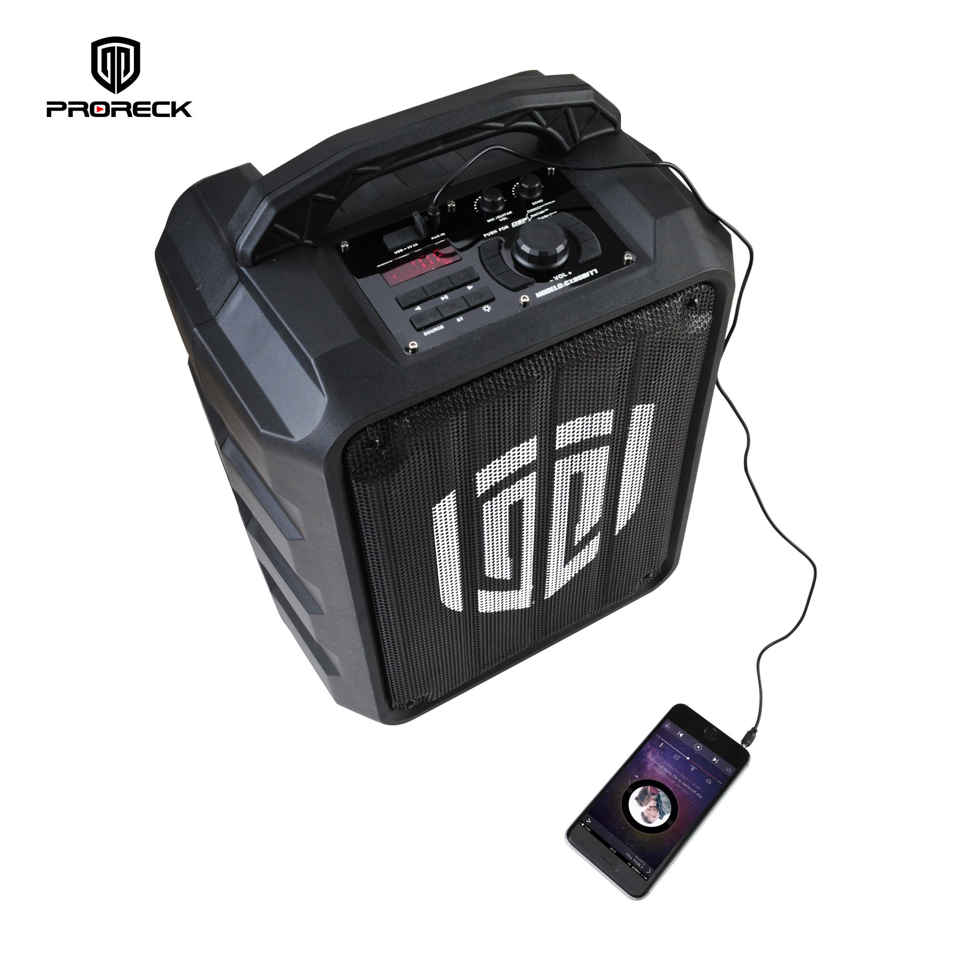 PRORECK FREEDOM 8 Portable 8-Inch 2-Way Rechargeable Powered Dj/PA Speaker System with Wired Microphone LED Lights Function Bluetooth/USB Drive / FM Radio/Remote Control