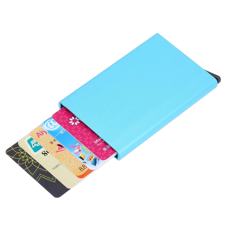 MuLier Credit Card Holder RFID Blocking Aluminum Automatic Pop-up Slim Metal Wallet Black