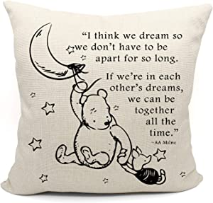 Winnie The Pooh and Piglet Throw Pillow Case, Friendship Gifts Decorative Pillow Covers, Children Room Decor, 18 x 18 Inch Winnie The Pooh Theme Room Linen Cushion Cover for Sofa Couch Bed