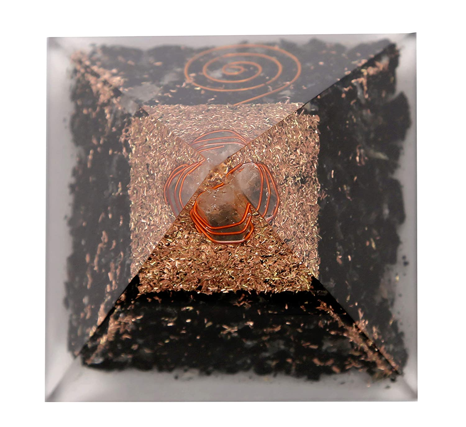 Aatm Energy Generator Black Tourmaline Orgone Pyramid for EMF Protection Chakra Healing Meditation with Crystal and Copper 3 and 3 inches