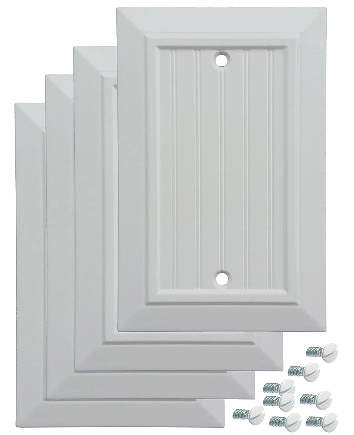 Pack of 4 Wall Plate Outlet Switch Covers by SleekLighting   Classic Beadborad Wall plates  Variety of Styles: Decorator/Duplex/Toggle/Blank/& Combo   Size: 1 Gang Blank