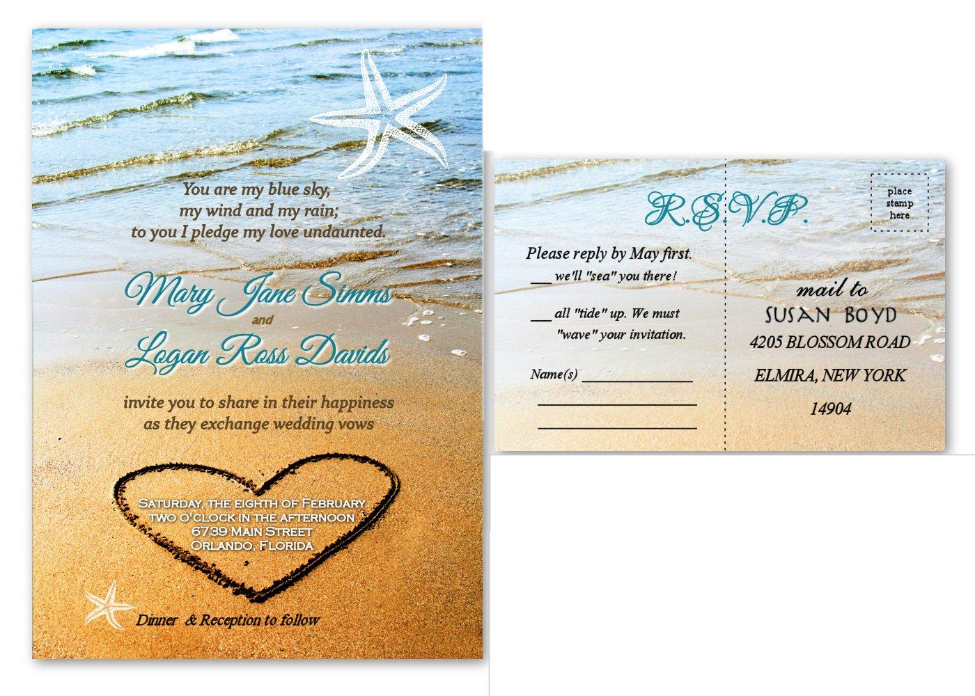 Amazon.com: Beach Sand Starfish Wedding Invitations & Response Cards ...