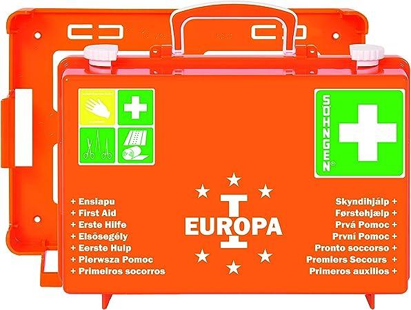 Söhngen Erste Hilfe Koffer Europa I Gefüllt Mit Wandhalterung Füllung Nach Din 13157 Mit Aluderm Verbandspäckchen Kompressen Rettungsdecke Orange 03001356 Spielzeug