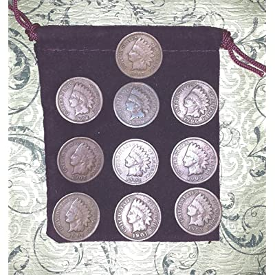 Buengna 10 Different Indian Head Cents Pennies in Gift Bag - 10 Little Indians: Toys & Games