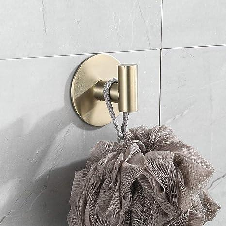 gancho de 3 piezas sin taladrar hardware de ba/ño soporte para rollo de papel higi/énico Juego de accesorios de ba/ño adhesivo dorado cepillado de 30,5 cm para rollo de papel higi/énico