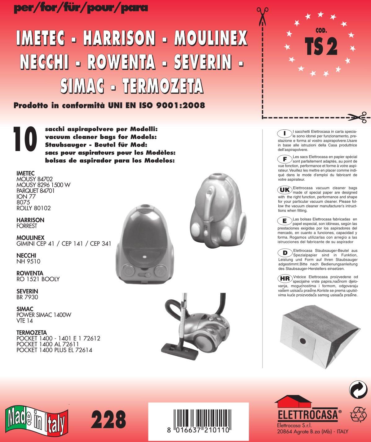 Acquisto TS 2 sacchetti per aspirapolvere confezione da 10 sacchi carta Prezzo offerta