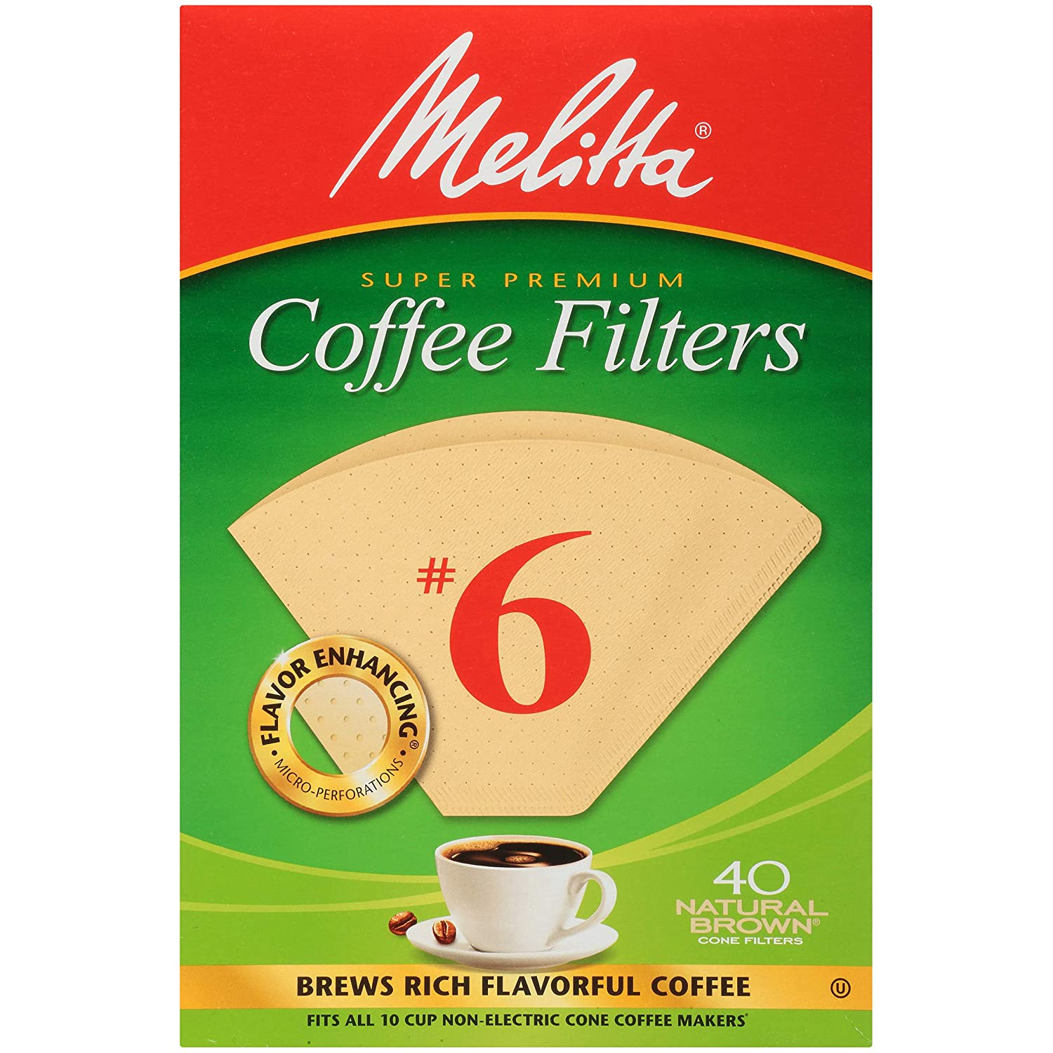 Melitta No. 6 Unbleached Cone Coffee Filters, Natural Brown, 40 Count