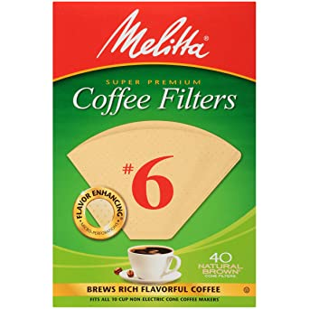 Melitta Cone Coffee Filters Natural Brown No 6 40 Count