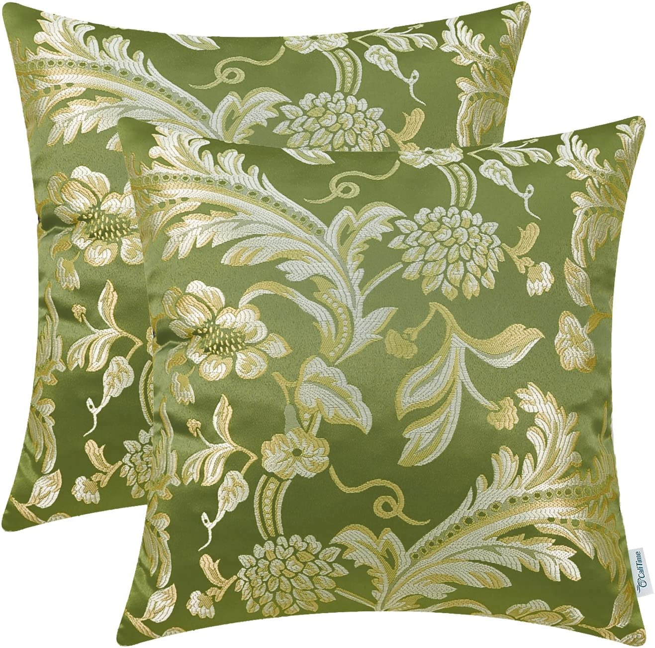 CaliTime Pack of 2 Throw Pillow Covers Cases for Couch Sofa Home Decor Vintage Floral Leaves 18 X 18 Inches Olive Green