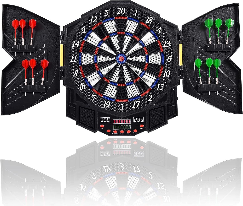 Electronic Dartboard with LED Digital Score Board 12 Dart /& Cabinet to Stroage