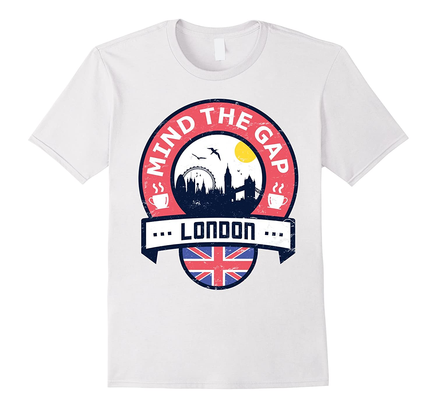 Mind The Gap T Shirt  British London UK Union Jack Tube-CD