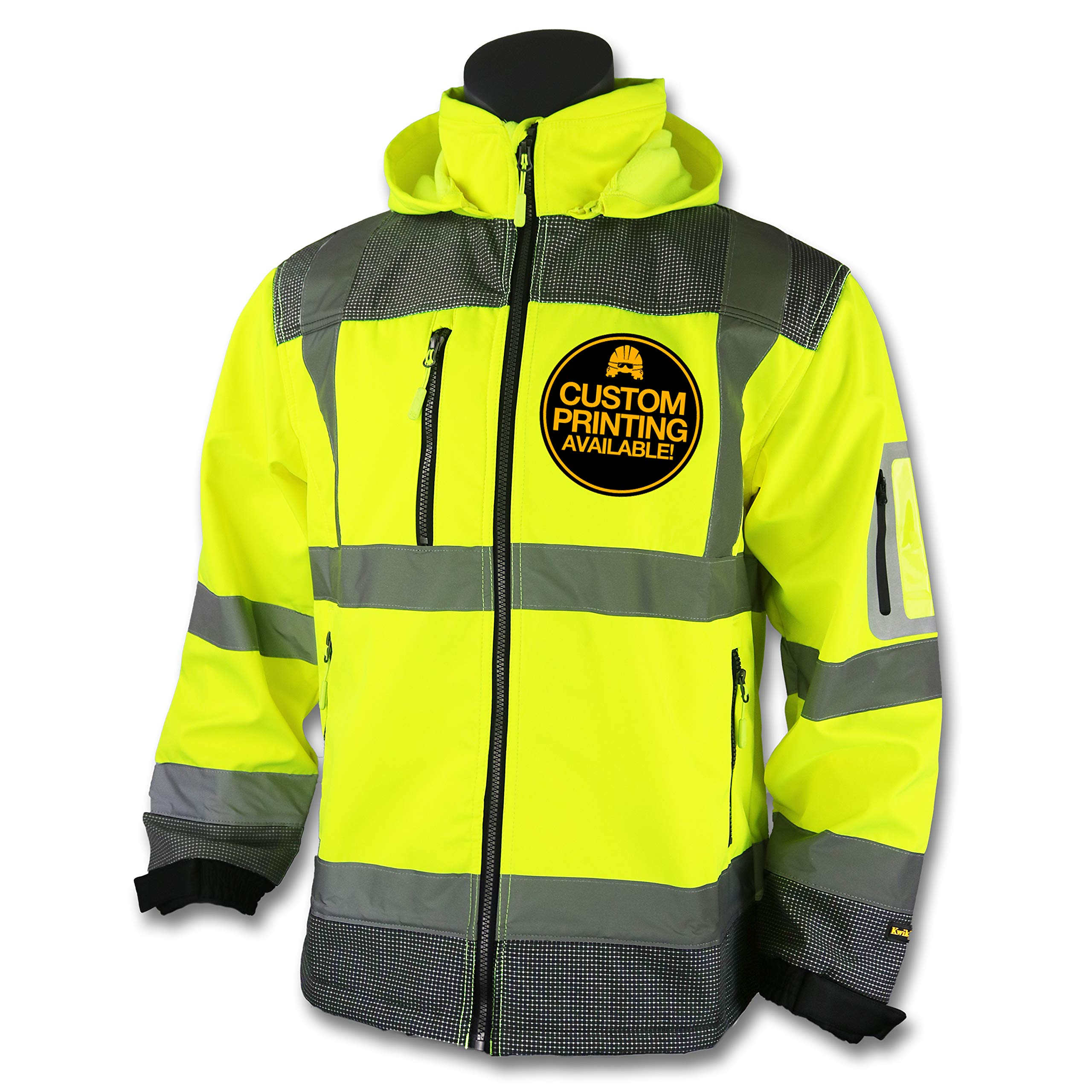 KwikSafety GALAXY | Class 3 Soft Shell Safety Jacket | 360° High Visibility ANSI Compliant OSHA Approved Jacket | Wind Water Resistant Premium Work Wear | Multi Pockets Detachable Hood | Large