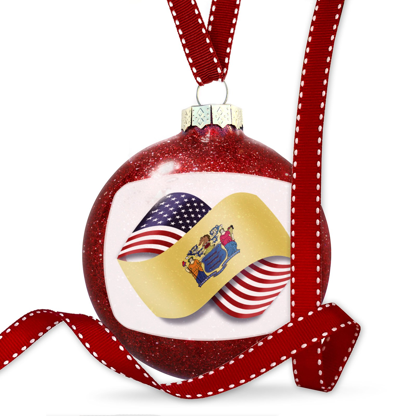 Christmas Decoration Infinity Flags USA and New Jersey region America (USA) Ornament