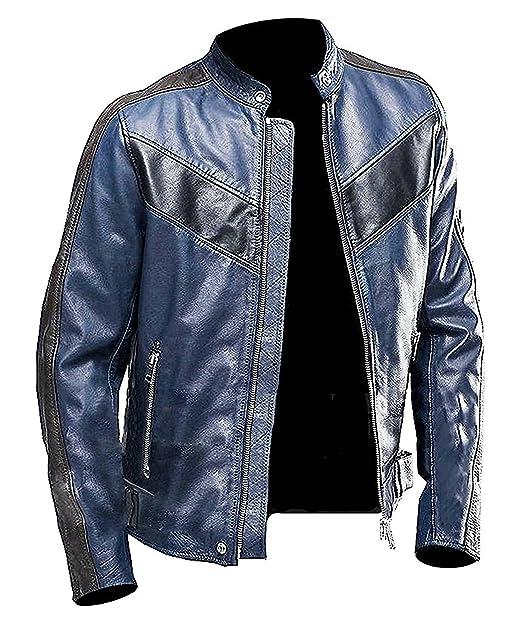 Amazon.com: Para hombre Azul Marino chamarra de piel | Azul ...