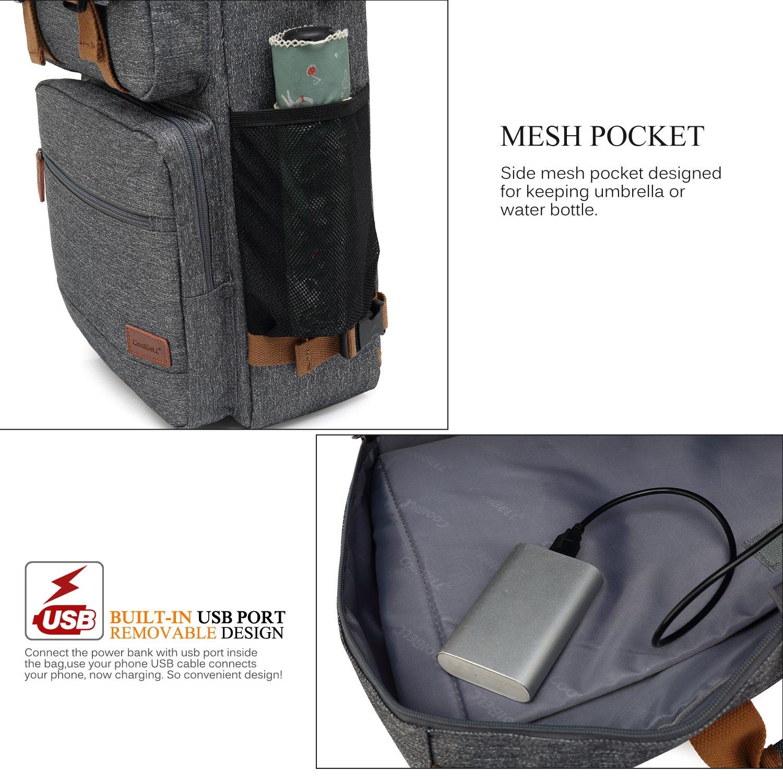 CoolBELL Convertible Briefcase Backpack Messenger Bag Shoulder bag Laptop Case Business Briefcase Travel Rucksack Multi-functional Handbag Fits 17.3 Inch Laptop For Men/Women (Grey) by CoolBELL (Image #7)