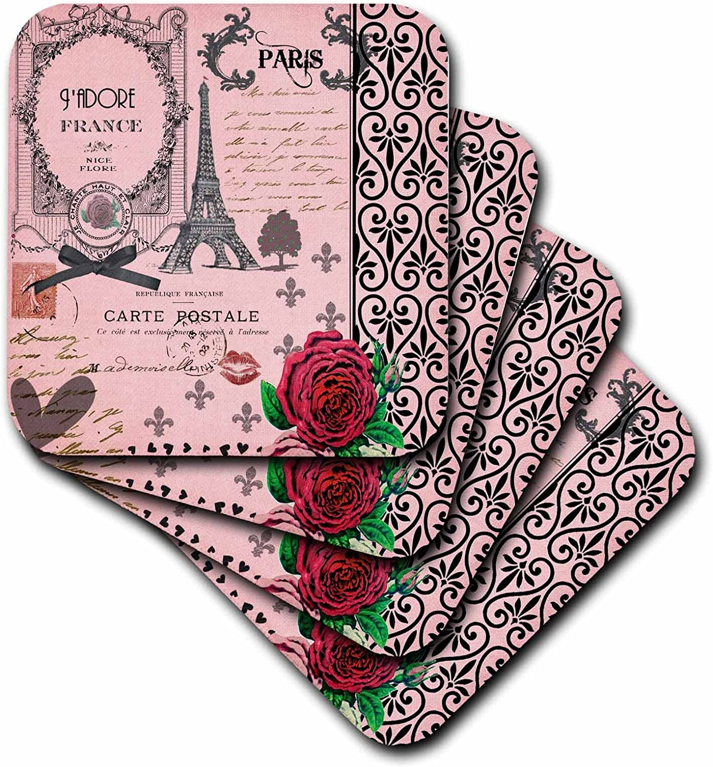 3dRose CST_76593_1 Stylish Vintage Pink Paris Collage Art Eiffel Tower Red Rose Girly Gothic Black Bow and Swirls Soft Coasters, Set of 4