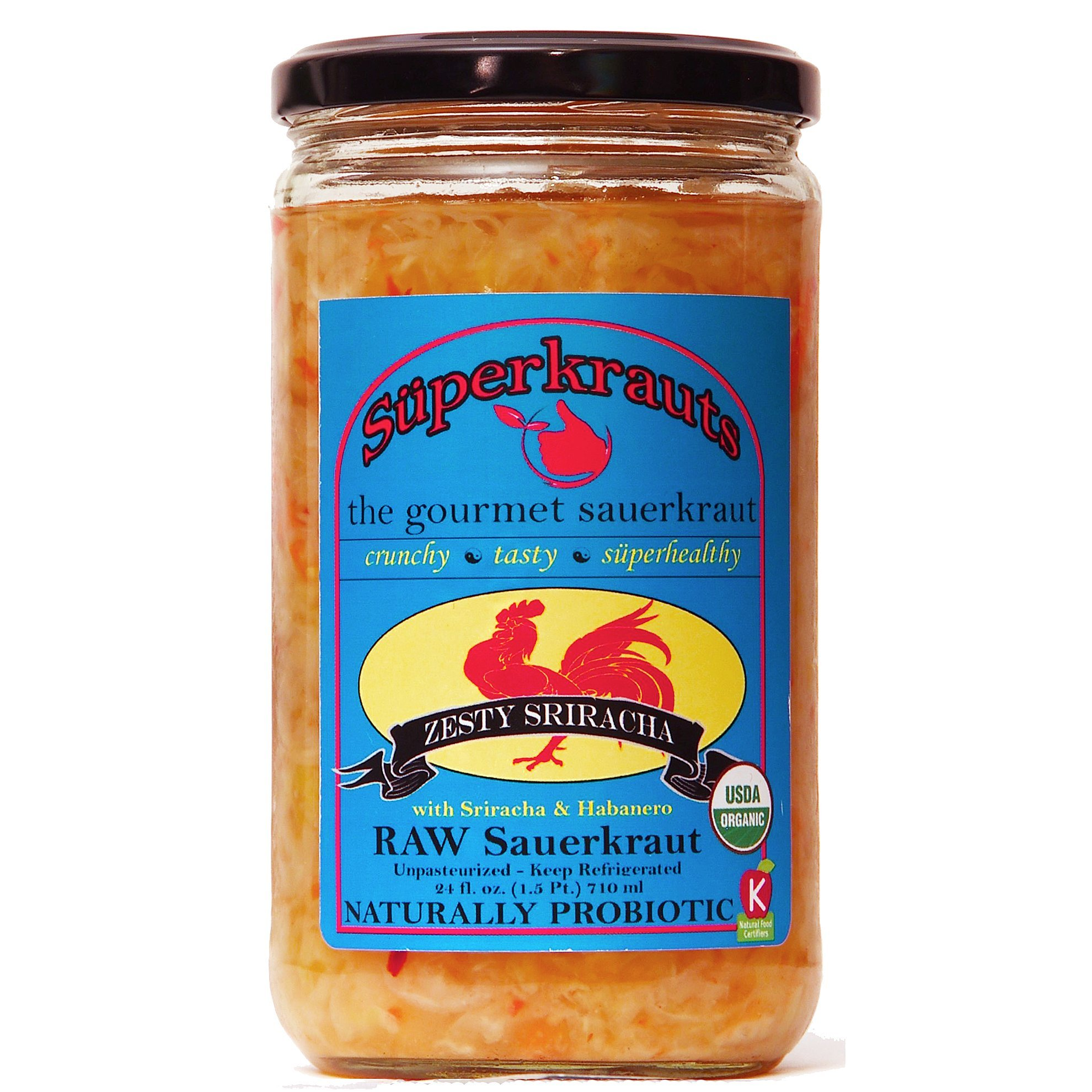 """""""Sriracha"""" gourmet sauerkraut: organic, raw fermented, unpasteurized, probiotic, kosher, vegan and gluten free. 24 fl. oz, 16 flavors available. No shipping charges with minimum. by Superkrauts"""