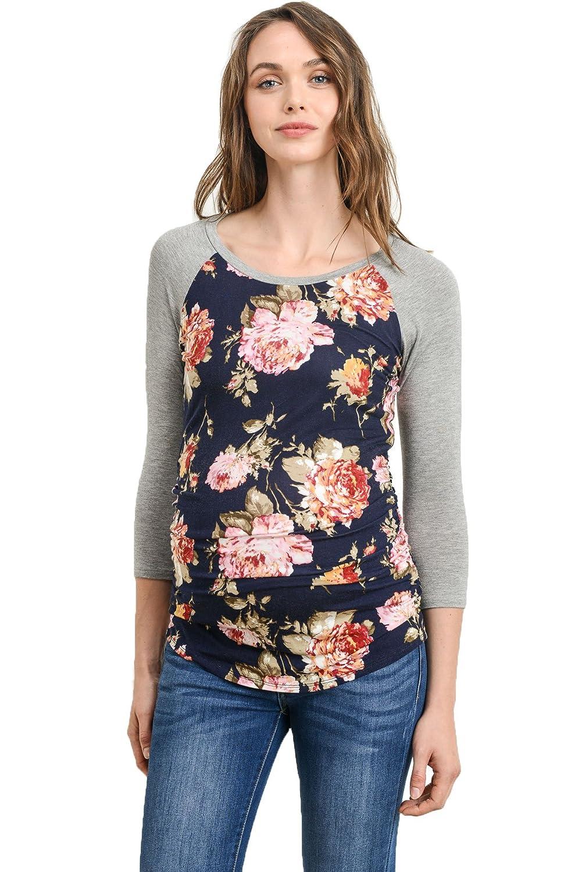 (ラクレフ) LaClef 野球クルーネックラグランマタニティTシャツ レディース B078SZX233 xs|Navy Floral/Grey Navy Floral/Grey xs