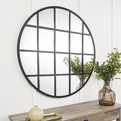 40 round mirror galvanized metal wall new 40 inch round beveled window mirror black amazoncom black home