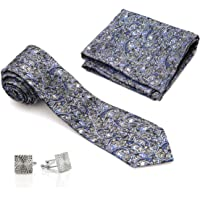 VIBHAVARI Men's Tie, Pocket Square and Cufflinks Set (Black, Free Size)