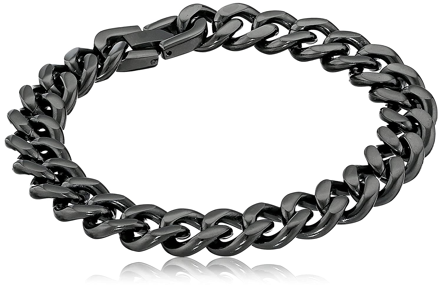 Amazon Com Men S Black Tone Stainless Steel 12mm Curb Chain