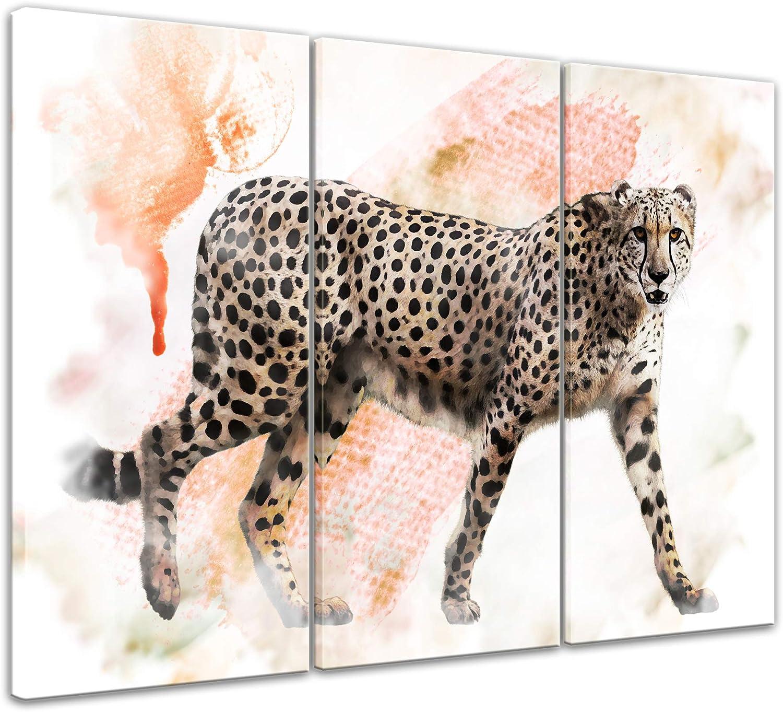 Bilderdepot24 Cuadros en Lienzo Lámina Reproducción Acuarela Leopardo 60 x 50 cm - Listo tensa, Directamente Desde el Fabricante: Amazon.es: Hogar