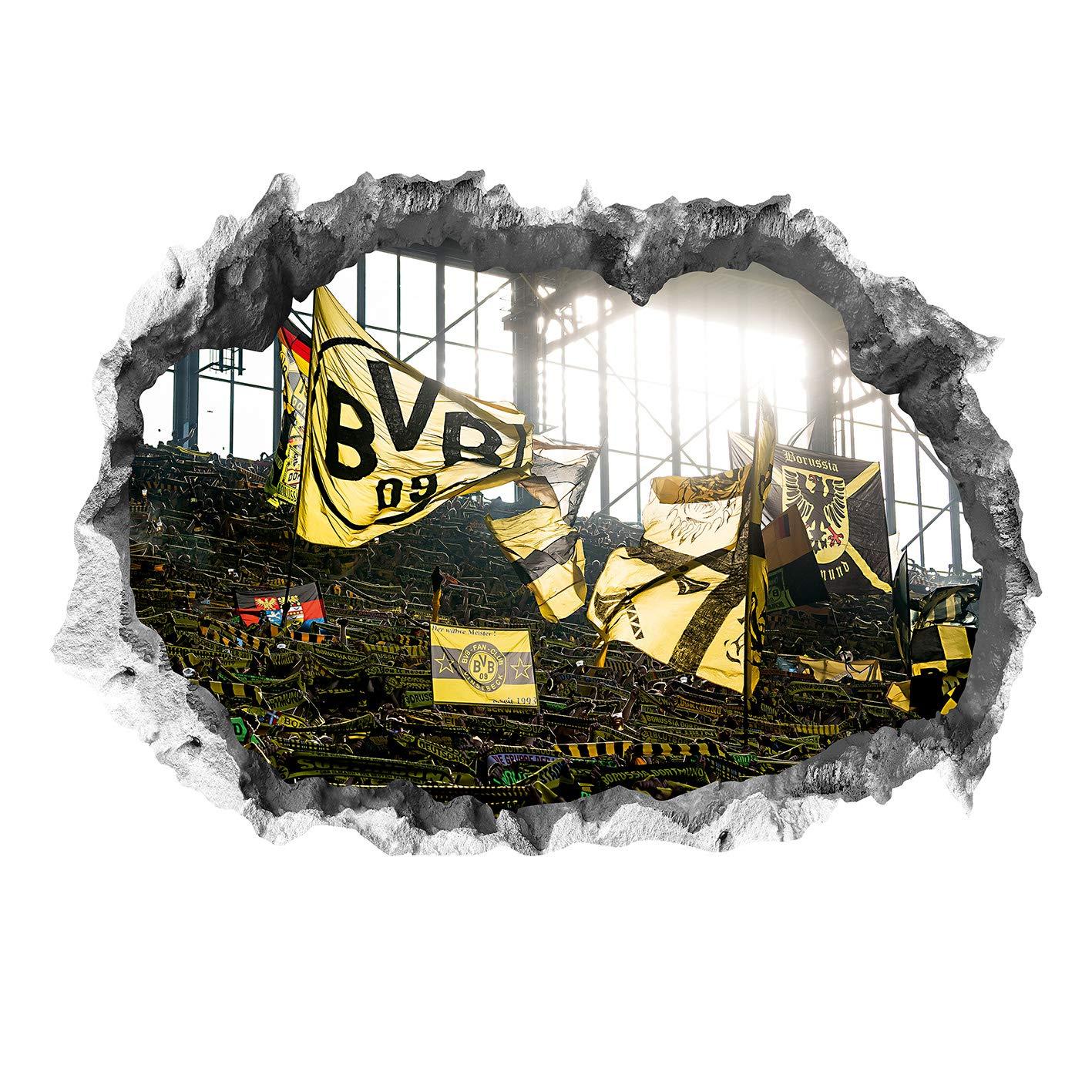 Wandtattoo BVB Skyline mit Logo farbig Fanshop Dortmund Fanartikel Wanddeko Deko