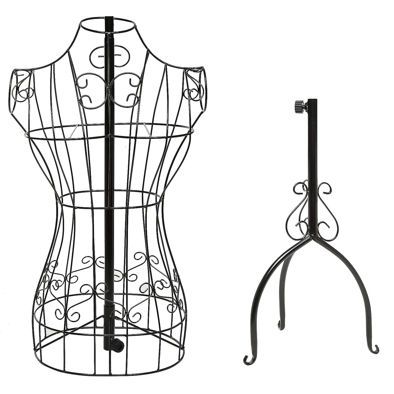 Amazon.com: Designers Black Metal Adjustable Height Wire Frame ...