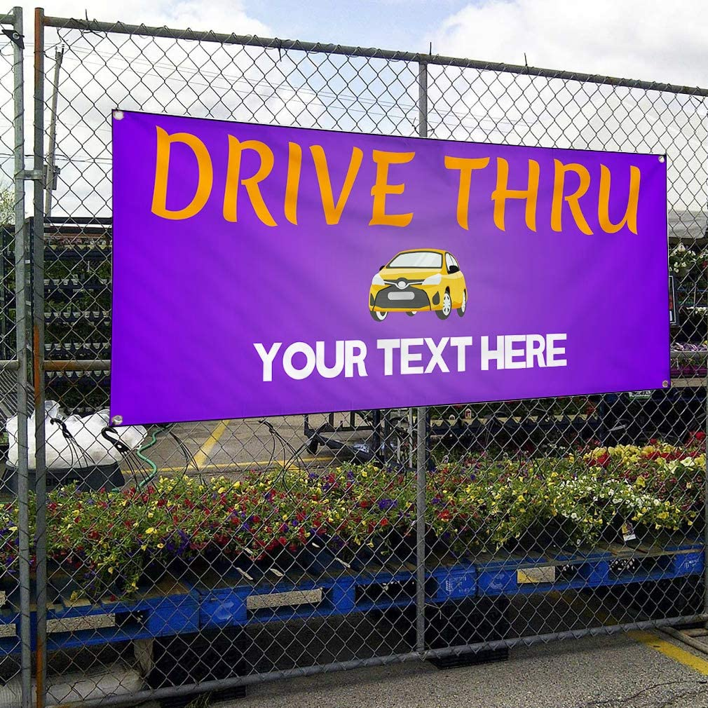 Custom Industrial Vinyl Banner Multiple Sizes Drive Thru Style A Personalized Text Here Business Outdoor Weatherproof Yard Signs Purple 10 Grommets 56x140Inches
