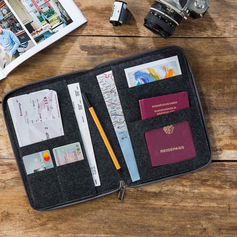 Flugticket   Etui f/ür Reisepass Kreditkarte Personalausweis Reiseunterlagen Farbe w/ählbar Ausweistasche Reiseorganizer Reisepassh/ülle A5 aus Filz mit rundum Rei/ßverschluss dunkelgrau//grau