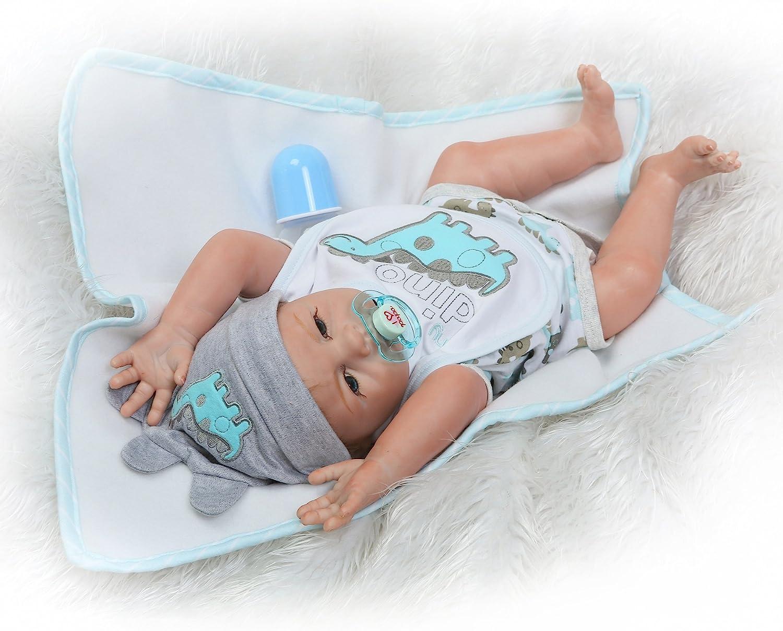 Full Body Silicone Baby Dolls Boy 20 inch Lifelike Reborn Dolls Eyes Open Newborn Anatomically Correct Washable Doll