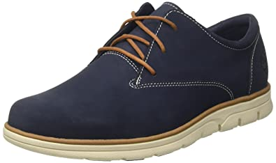 Timberland Mens Bradstreet Plain Toe Oxford Navy Blue Nubuck Shoes 8 US