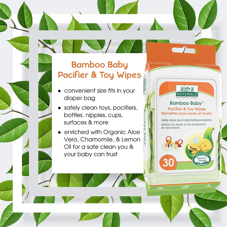 Aleva Naturals bambú bebé chupete de juguete y toallitas: Amazon ...