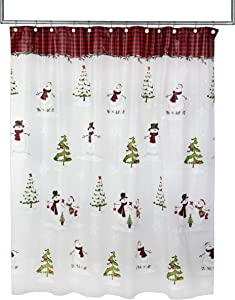 SKL Home by Saturday Knight Ltd. Woodland Winter, Shower Curtain, Red