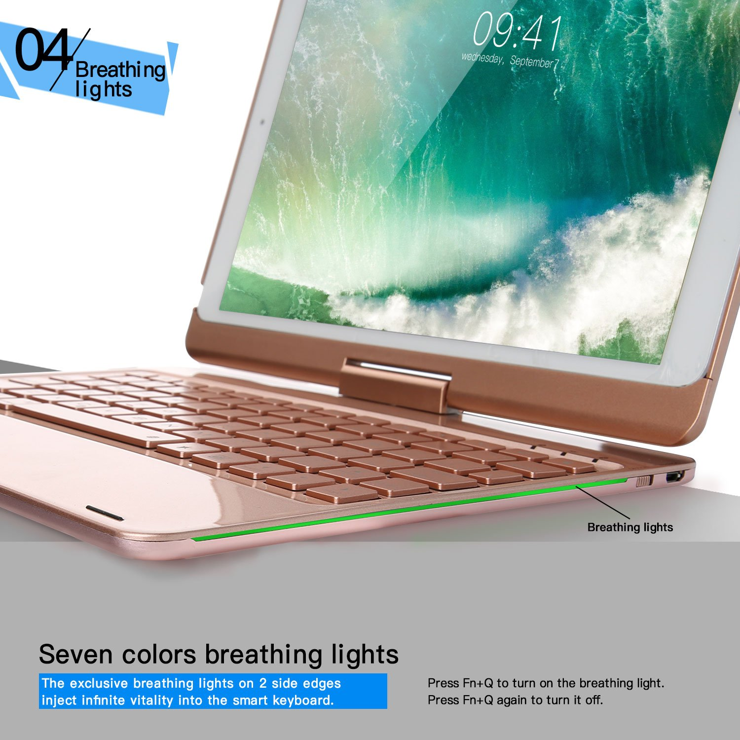iEGrow F180 Gold Case with Keyboard 7 Colors Adjustment Backlit and Breathing Light Keyboard with 360 Degree Rotatable Cover for iPad 6th//iPad 5th Generation//Pro 9.7//Air 2//Air