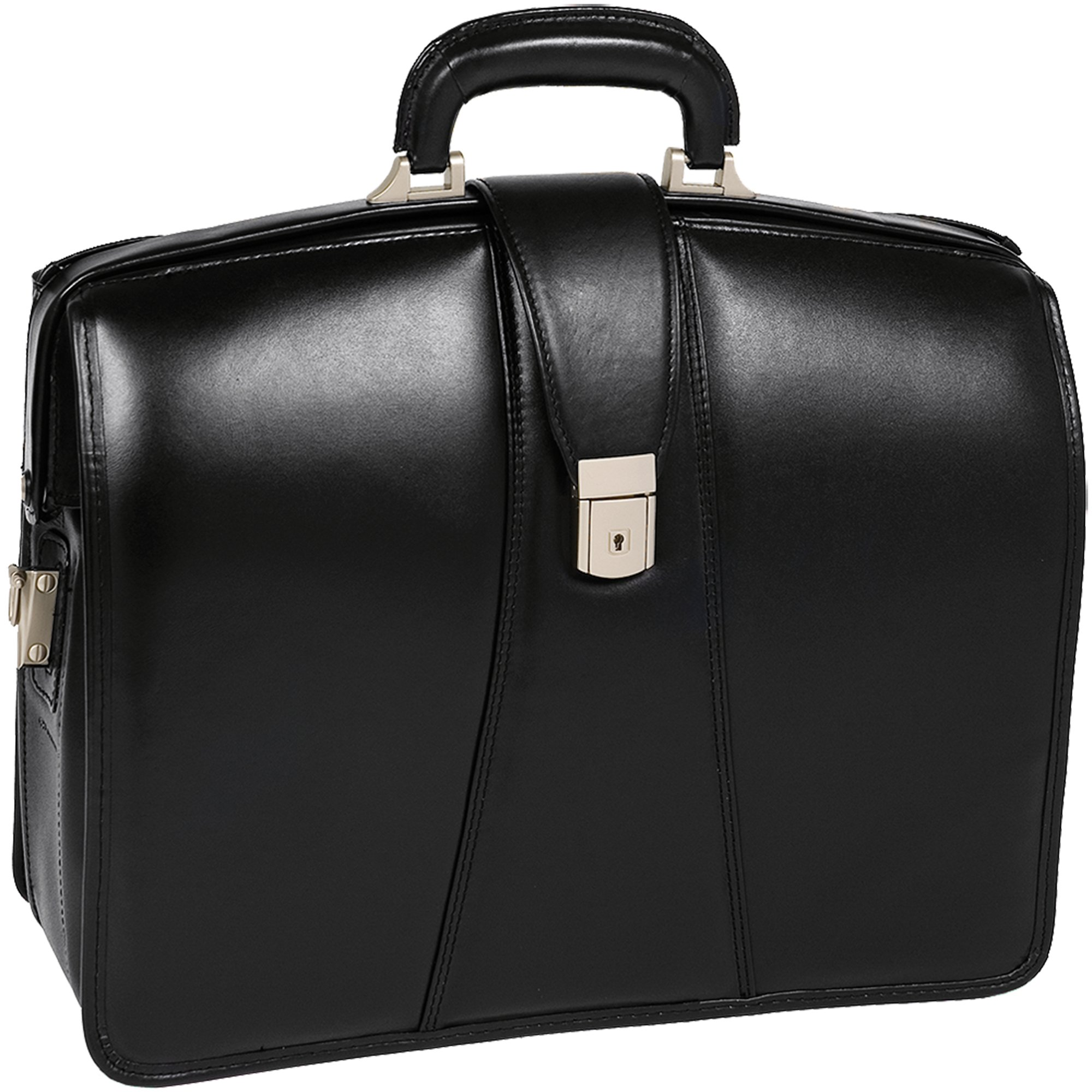 McKleinUSA Harrison [Personalized Initials Embossing] 15.6'' Leather Partners Laptop Briefcase in Black