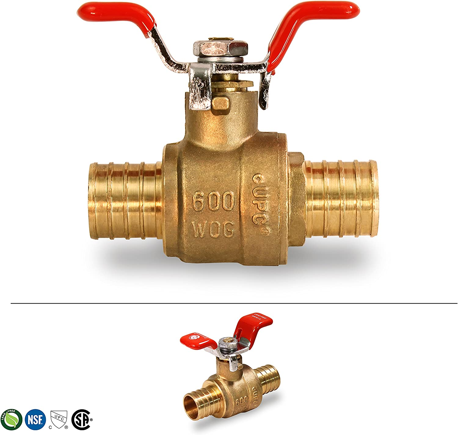 Everflow Supplies 615P001-NL Lead Free Pex Full Port Ball Valve with Tee Handle 1-Inch