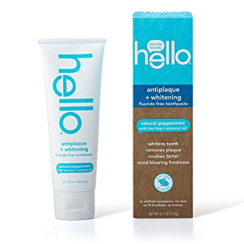 Amazon Com Hello Oral Care Fluoride Free Antiplaque And Whitening Toothpaste Vegan Sls Free Natural Peppermint With Tea Tree Oil Coconut Oil 4 7 Ounce Health Personal Care