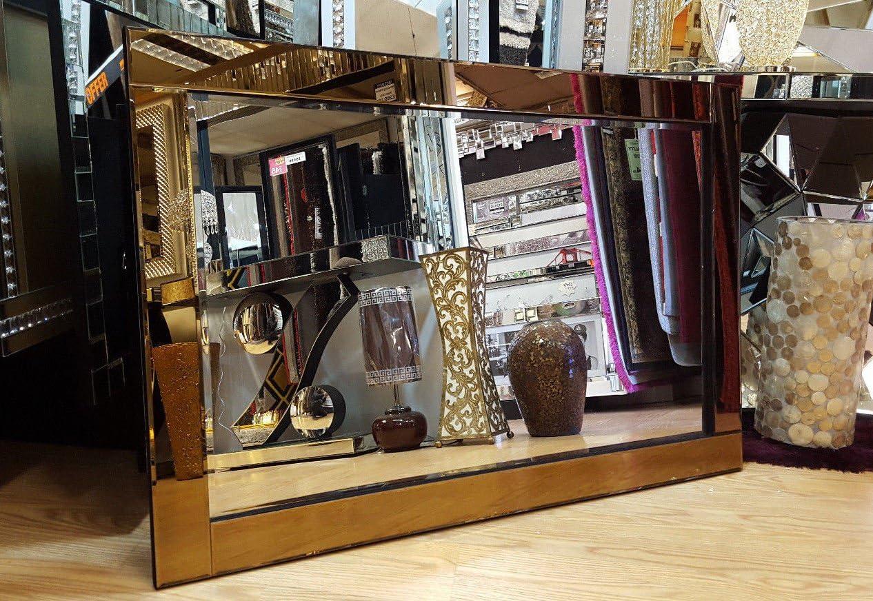 Premierinteriors Modern Art Deco Wall Mirror Bronze Rose Gold Glass Design Bevelled 120x80cm Amazon Co Uk Kitchen Home