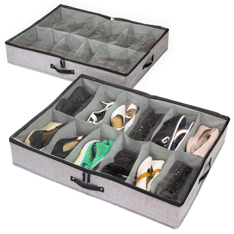 storageLAB Under Bed Shoe Storage Organizer, Sturdy Sides and Bottom - Set of 2, Fits 24 Pairs Total, Lower Cost Version (Gray) by storageLAB