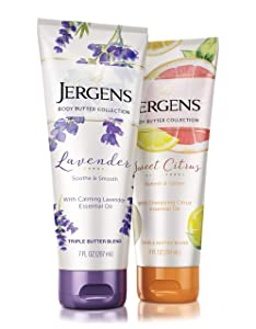 Jergens Sweet Citrus and Lavender Body Butter Moisturizer, 2-Pack, 7 Ounce Lotions, with Essential Oil, for Indulgent Moisturization