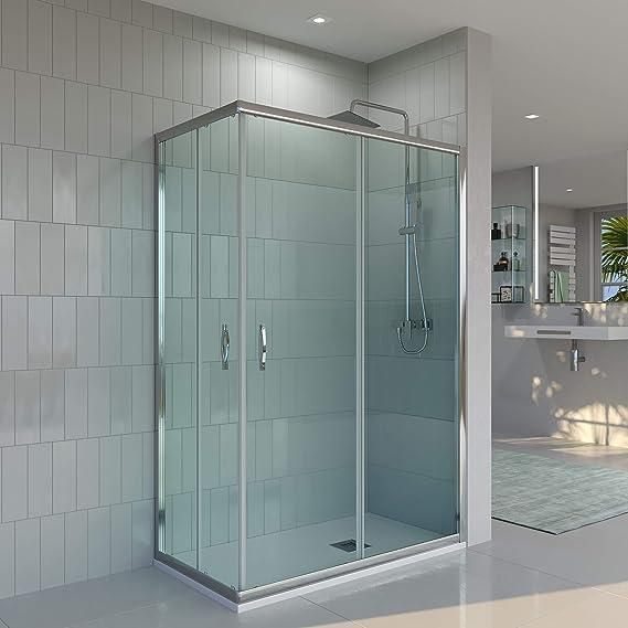 Mampara de ducha ANGULAR-RECTANGULAR VAROBATH de 2 FIJAS + 2 ...